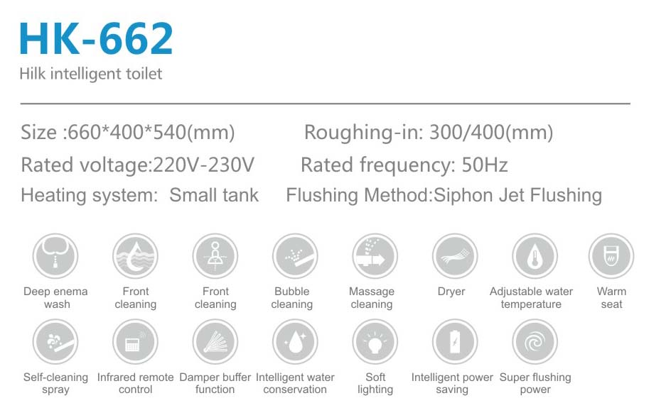 Full Automatic Innovation Siphonic Type Ceramic Smart Intelligent Senser Toilet